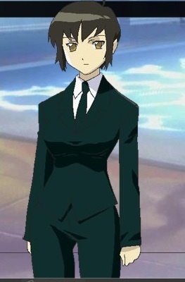 Post a female character wearing a suit
