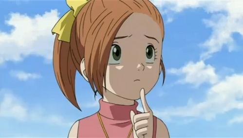 Anime girl orange hair apologise