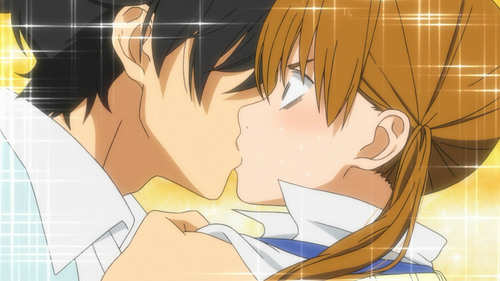 Post Anime character who was shock while she/his being KISS