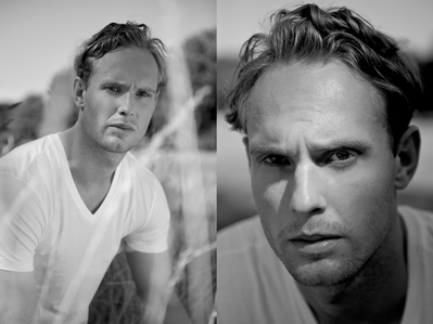 Post an actor in black and white.