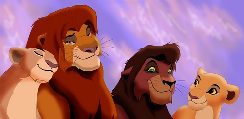 In the end of the second movie, is Kiara looking at her parents or at Kovu? (I really can't tell)
