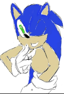 A drawing of Sonic the hedgehog by Kicksomebutt23.