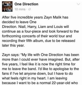Zayn left one direction!