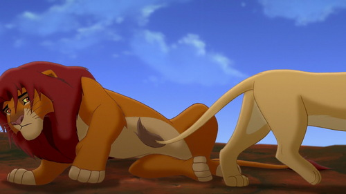 What does it look like Simba is doing here?