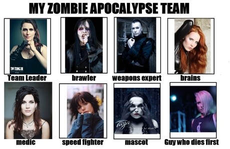 You are in a zombie apocalypse fill out this chart (link in details) with singers and/or band members you'd have on your team.