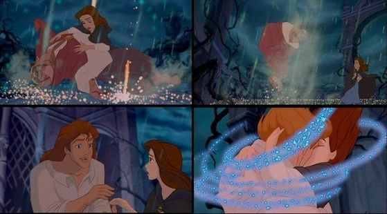 I Cinta it when Beast turns into a prince. Some may think Prince Adam is ugly but I think he's handsome. Belle already loved him as a Beast so the moral of the story stays the same. BEAUTIFUL piece of animation!