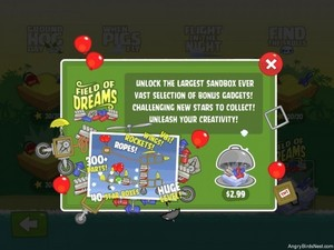 """Fields of Dreams Sandbox. New """"Field of Dreams"""" Sandbox level that is available for $2.99 as an In-App Purchase. This level is massive and includes 40 stars, not 20. It also includes a bunch of extra parts, including: V8 Engines, new wings, rockets, r"""