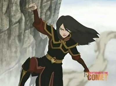 1. Azula, Azula, Azula. Her insaneness, her craziness had made her my fav character. She is very talented example in The Tag Of Black Sun, she runs very fast to escape... she's just too much and my most favourite!
