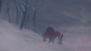 Belle carried him away on her horse through the falling snow. As she silently walked with Beast behind her, she couldn't help but wonder who that monster was.