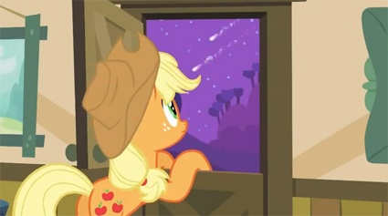 In Apple Family Reunion there are two shooting stars that were constantly being shown at night. It is said that they are to represent Applejack, Apple Bloom, and Big Macintosh's parents.