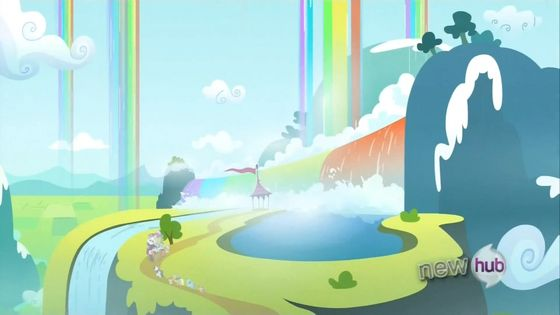 Winsome Falls - The last campsite from Sleepless in Ponyville which is composed of rainbow waterfalls.