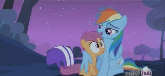 In the episode it can be inferred that Scootaloo is in fact an orphan. However, that all changes when 彩虹 takes Scootaloo under her wing.