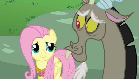 Fluttershy and Discord: In Keep Calm and Flutter On, the mane six are deemed with the task of reforming Discord and it worked. Discord reformed because he valued his friendship with Fluttershy.
