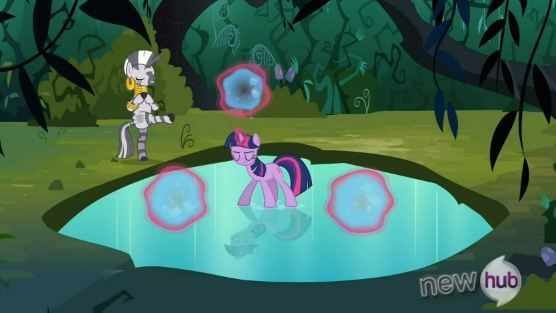 Zecora played an important role in the episode Magic Duel. Twilight trained with her after being banished. Zecora can use magic as shown by her refilling her cup by waving her hoof around it. Zecora is also seen in Just for Sidekicks.