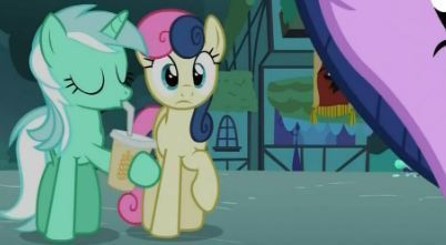 Lyra is seen in Magic Duel drinking some type of beverage out of a straw and Bon Bon is of course suivant to her.