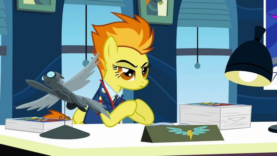 Spitfire plays a key role in the episode Wonderbolts Academy.