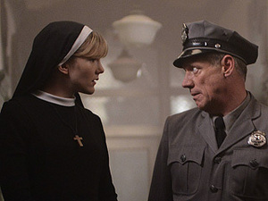 "GETTING BUGGY Sister Mary (Lily Rabe) and Frank (Fredric Lehne) try to make sense of current events in ""Dark Cousin."""