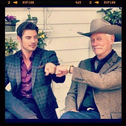 Josh and Larry Hagman as John Ross and J.R. on Dallas set