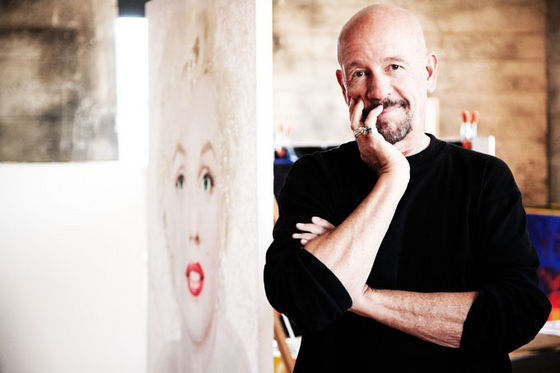 David Willardson with his Marilyn Monroe painting in the background