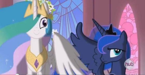 Celestia: Yay! Twilight's here! Luna: Oh, Twilight's here.