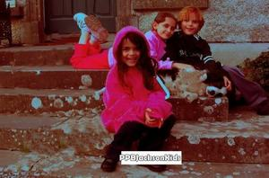 prince, paris, and blanket in front of the inn in irearland