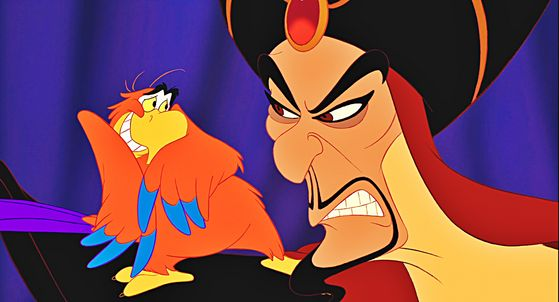 The scheming vizier Jafar with his constant companion Iago.