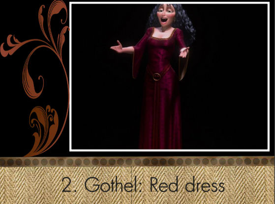 """I quite like Gothel's dress...the details on it, the whay it hugs her body, but above all: I Любовь red!"" - Swanpride"