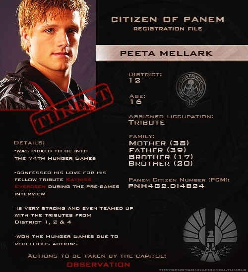 Peeta's details from the hunger games