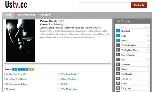 Prison Break's Page at ustv.cc