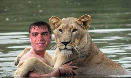Matthew with a female lion
