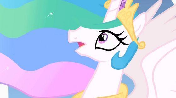 Princess Celestia listening to the guard.