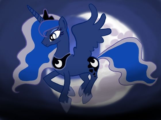 Princess Luna flying to Equestria