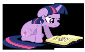 Twilight studying and researching the history of Equestria.
