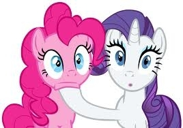 Pinkie an Rarity watching the fight