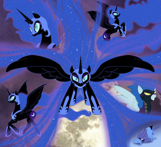 """Nightmare Moon and her quite """"functional"""" mane, which seems to come in handy for her many times. Is it pure Lunar energy?"""
