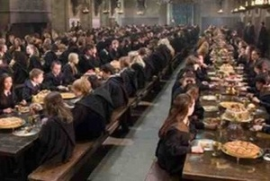 """Finally the Hufflepuffs girls entered the Great Hall and spotted the other girls at the Ravenclaw table."""