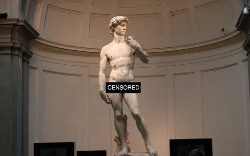 Fine art is ok, wewe don't need to censor Michelangelo!