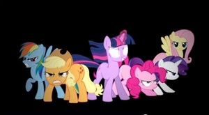 cyan-coated pegasus:Rainbow Dash,Orange-coated earthpony:Apple Jack,Lavender-coated unicorn:Twilight Sparkle,Pink-coated earthpony:Pinkie Pie,White coated unicorn:Rarity and Yellow coated pegasus:Fluttershy