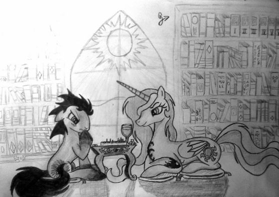 """""""You know, there is no better way to get to know somepony than analyzing his game..."""" (pic drawn kwa me)"""
