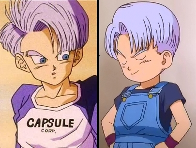 To the left teen future Trunks; to the right Trunks in Battle of Gods