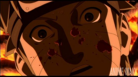 naruto gets stabed one time. And he dies.
