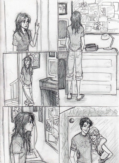 a comic of whats her name looking at a picture of Percy and annabeth ( PERCABETH FTW )