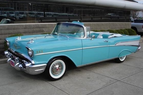 """Michael And Maris Riding Along The Outskirts Of Paris In A Vintage """"'57 Chevy"""""""