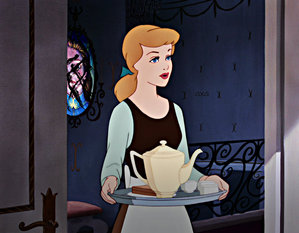 Cinderella stood in the doorway holding a tray for Beast.