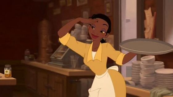 Tiana takes a small break from work to tunjuk her approval.