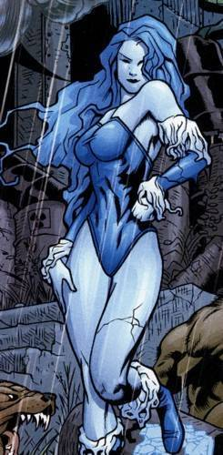 Her body turned into an icy frost blue.