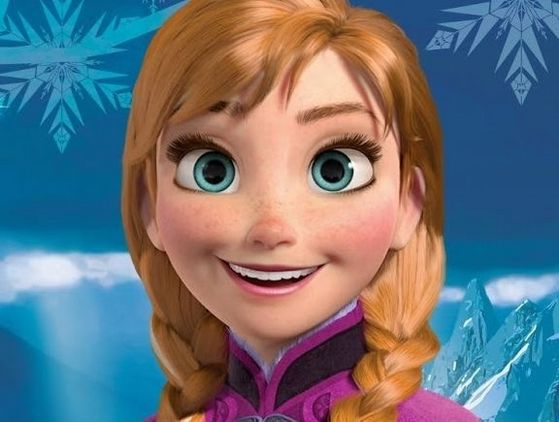 2. Anna: with her beautiful auburn plats, large blue eyes, freckled face and adorable button nose, know wonder Anna's funny and awkward personality has made her the official 12th disney princess!