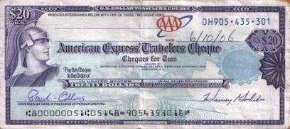 American Express Traveler's Cheques Michael And Maris Took With Them On Their Trip To Paris