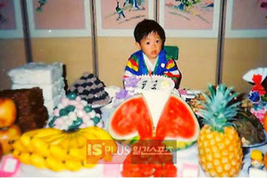 Hyun Joong at his first birth hari