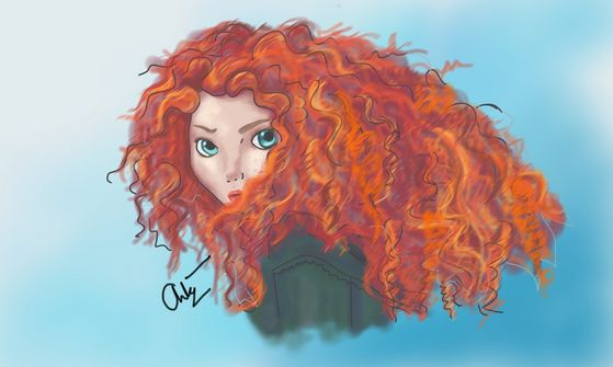 Minnie:Merida's make up on what tu can see of her face looks fantastic. Good Job Rapunzel.